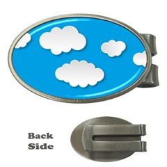 Clouds Sky Background Comic Money Clips (oval)