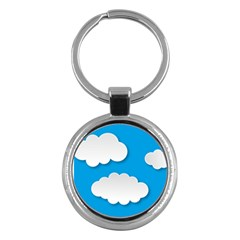 Clouds Sky Background Comic Key Chains (round)