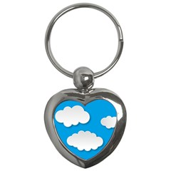 Clouds Sky Background Comic Key Chains (heart)