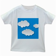 Clouds Sky Background Comic Kids White T Shirts