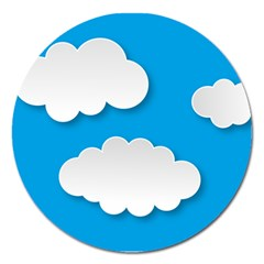 Clouds Sky Background Comic Magnet 5  (round)