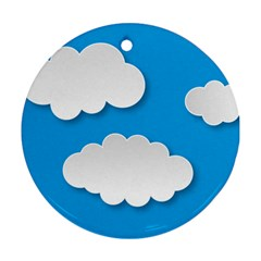 Clouds Sky Background Comic Round Ornament (two Sides)
