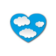 Clouds Sky Background Comic Rubber Coaster (heart)