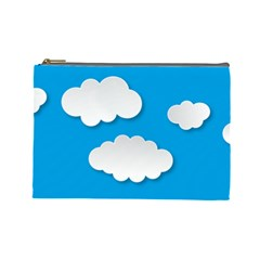 Clouds Sky Background Comic Cosmetic Bag (large)