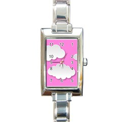 Clouds Sky Pink Comic Background Rectangle Italian Charm Watch