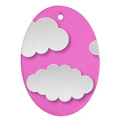 Clouds Sky Pink Comic Background Ornament (oval)