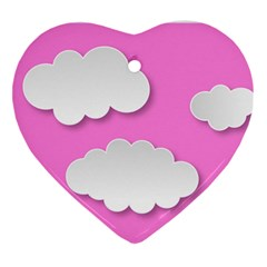 Clouds Sky Pink Comic Background Ornament (heart)