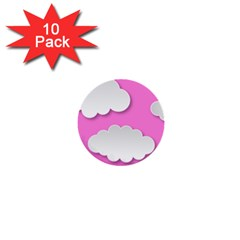 Clouds Sky Pink Comic Background 1  Mini Buttons (10 Pack)