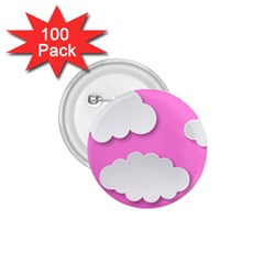 Clouds Sky Pink Comic Background 1 75  Buttons (100 Pack)