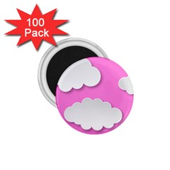 Clouds Sky Pink Comic Background 1 75  Magnets (100 Pack)