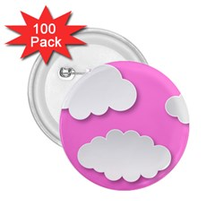 Clouds Sky Pink Comic Background 2 25  Buttons (100 Pack)