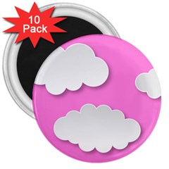 Clouds Sky Pink Comic Background 3  Magnets (10 Pack)