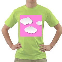 Clouds Sky Pink Comic Background Green T Shirt