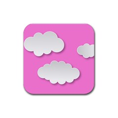 Clouds Sky Pink Comic Background Rubber Square Coaster (4 Pack)