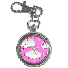 Clouds Sky Pink Comic Background Key Chain Watches