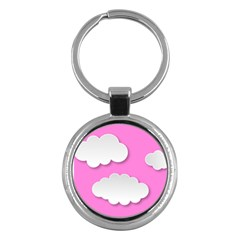 Clouds Sky Pink Comic Background Key Chains (round)