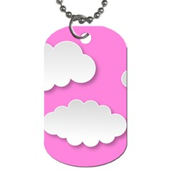 Clouds Sky Pink Comic Background Dog Tag (one Side)