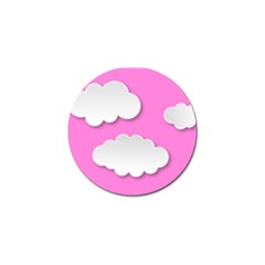 Clouds Sky Pink Comic Background Golf Ball Marker