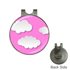Clouds Sky Pink Comic Background Hat Clips With Golf Markers