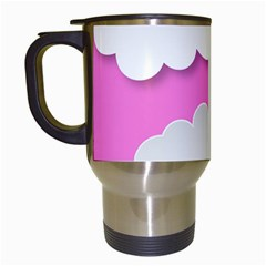Clouds Sky Pink Comic Background Travel Mugs (white)