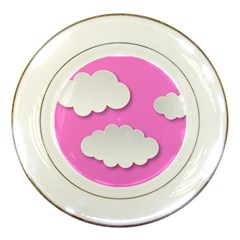 Clouds Sky Pink Comic Background Porcelain Plates