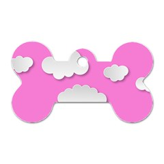 Clouds Sky Pink Comic Background Dog Tag Bone (two Sides)