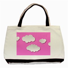 Clouds Sky Pink Comic Background Basic Tote Bag (two Sides)