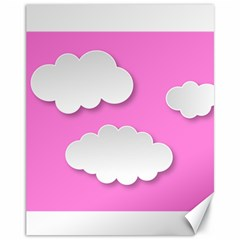 Clouds Sky Pink Comic Background Canvas 11  X 14