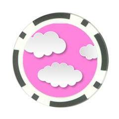 Clouds Sky Pink Comic Background Poker Chip Card Guard