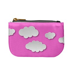 Clouds Sky Pink Comic Background Mini Coin Purses