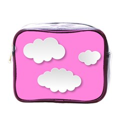 Clouds Sky Pink Comic Background Mini Toiletries Bags