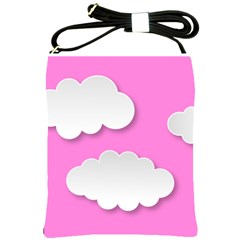 Clouds Sky Pink Comic Background Shoulder Sling Bags