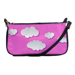 Clouds Sky Pink Comic Background Shoulder Clutch Bags
