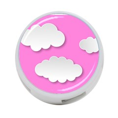 Clouds Sky Pink Comic Background 4 Port Usb Hub (two Sides)