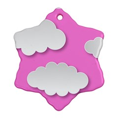Clouds Sky Pink Comic Background Snowflake Ornament (two Sides)