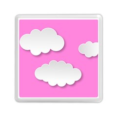 Clouds Sky Pink Comic Background Memory Card Reader (square)