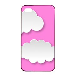 Clouds Sky Pink Comic Background Apple Iphone 4/4s Seamless Case (black)