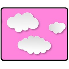 Clouds Sky Pink Comic Background Double Sided Fleece Blanket (medium)