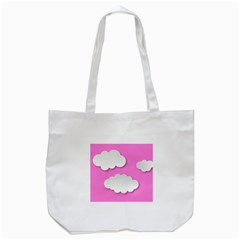 Clouds Sky Pink Comic Background Tote Bag (white)