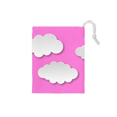 Clouds Sky Pink Comic Background Drawstring Pouches (small)