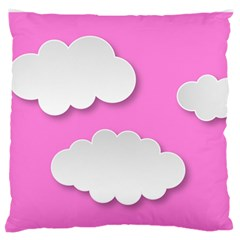 Clouds Sky Pink Comic Background Large Flano Cushion Case (two Sides)