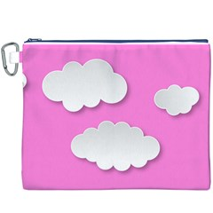 Clouds Sky Pink Comic Background Canvas Cosmetic Bag (xxxl)