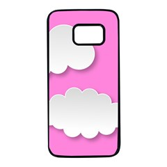 Clouds Sky Pink Comic Background Samsung Galaxy S7 Black Seamless Case