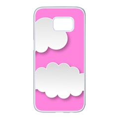 Clouds Sky Pink Comic Background Samsung Galaxy S7 Edge White Seamless Case