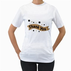 Thank You Lettering Thank You Ornament Banner Women s T Shirt (white) (two Sided)