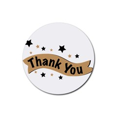 Thank You Lettering Thank You Ornament Banner Rubber Coaster (round)