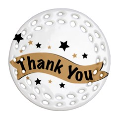 Thank You Lettering Thank You Ornament Banner Round Filigree Ornament (two Sides)