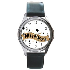 Lettering Miss You Banner Round Metal Watch