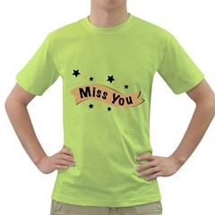 Lettering Miss You Banner Green T Shirt