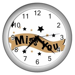Lettering Miss You Banner Wall Clocks (silver)
